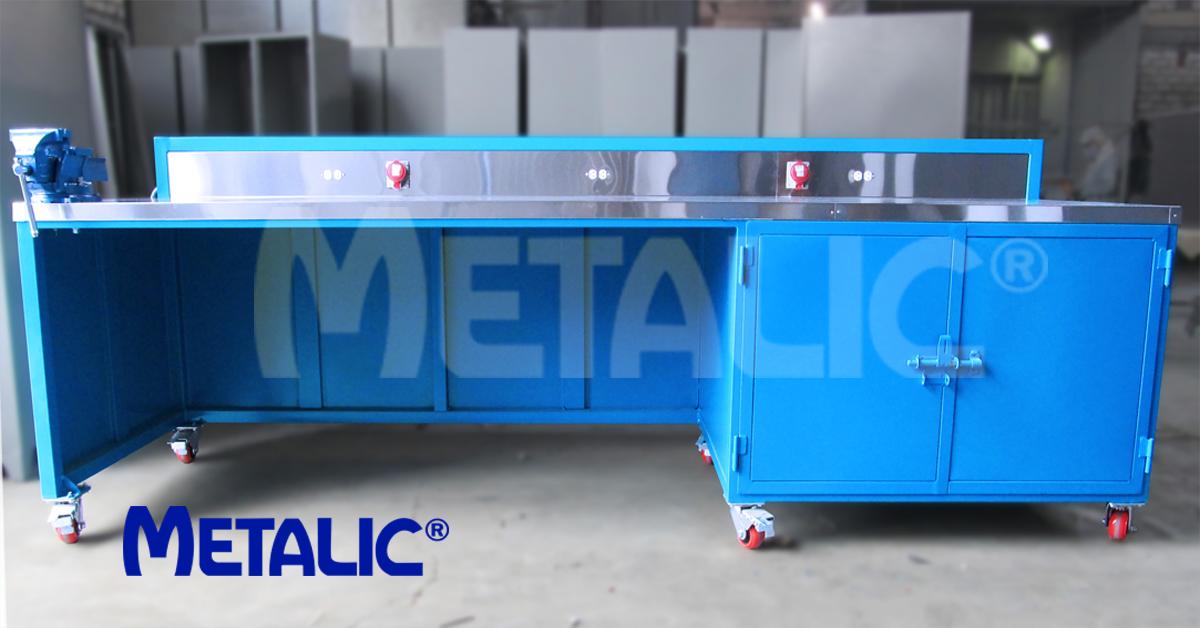 Mesa de trabajo mesa de taller m vil estructura met lica para trabajo en taller tablero - Mesa de trabajo metalica ...