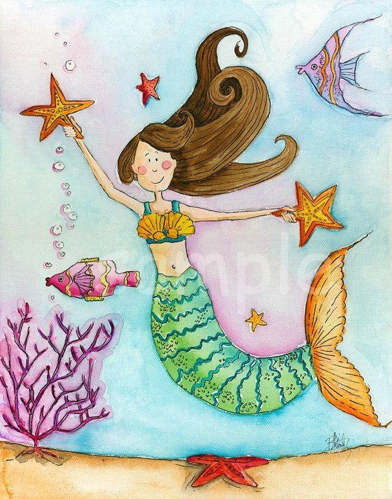 Sirena vivero lámina 8 x 10 por bealoo en Etsy   ilustraciones ...