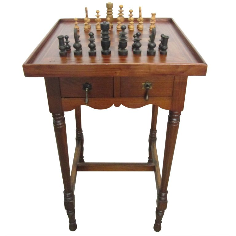antique inlaid chess table | from a unique collection of antique