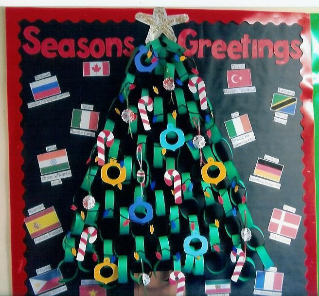 Paper Chain Christmas Tree Christmas School Crafts Christmas School Bulletin Board Tree