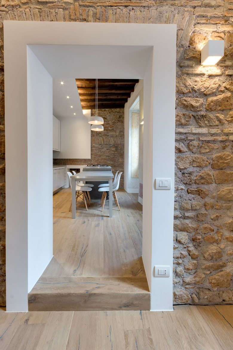 Contemporary apartment with old wood structure and stone walls rome italy plan maison