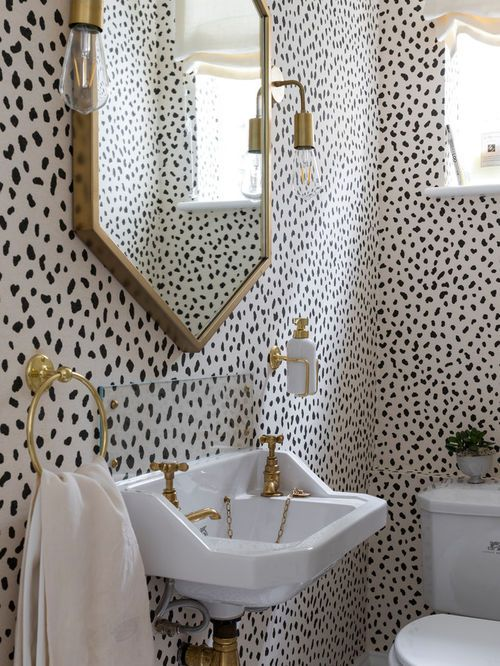 Inspirational Idea For A Downstairs Cloakroom Black White Animal Print Wallpaper And Gold Ings Make The Room Pop Loo May Be