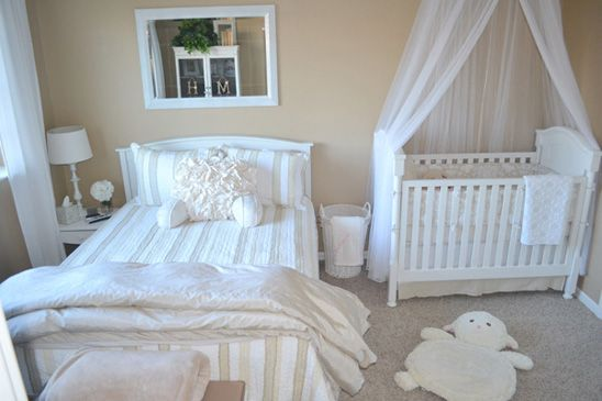 Check Out These Tips On How To Maximize Space When Sharing A Room With Your Baby Nursery Guest Room Combo Nursery Guest Room Parents Room