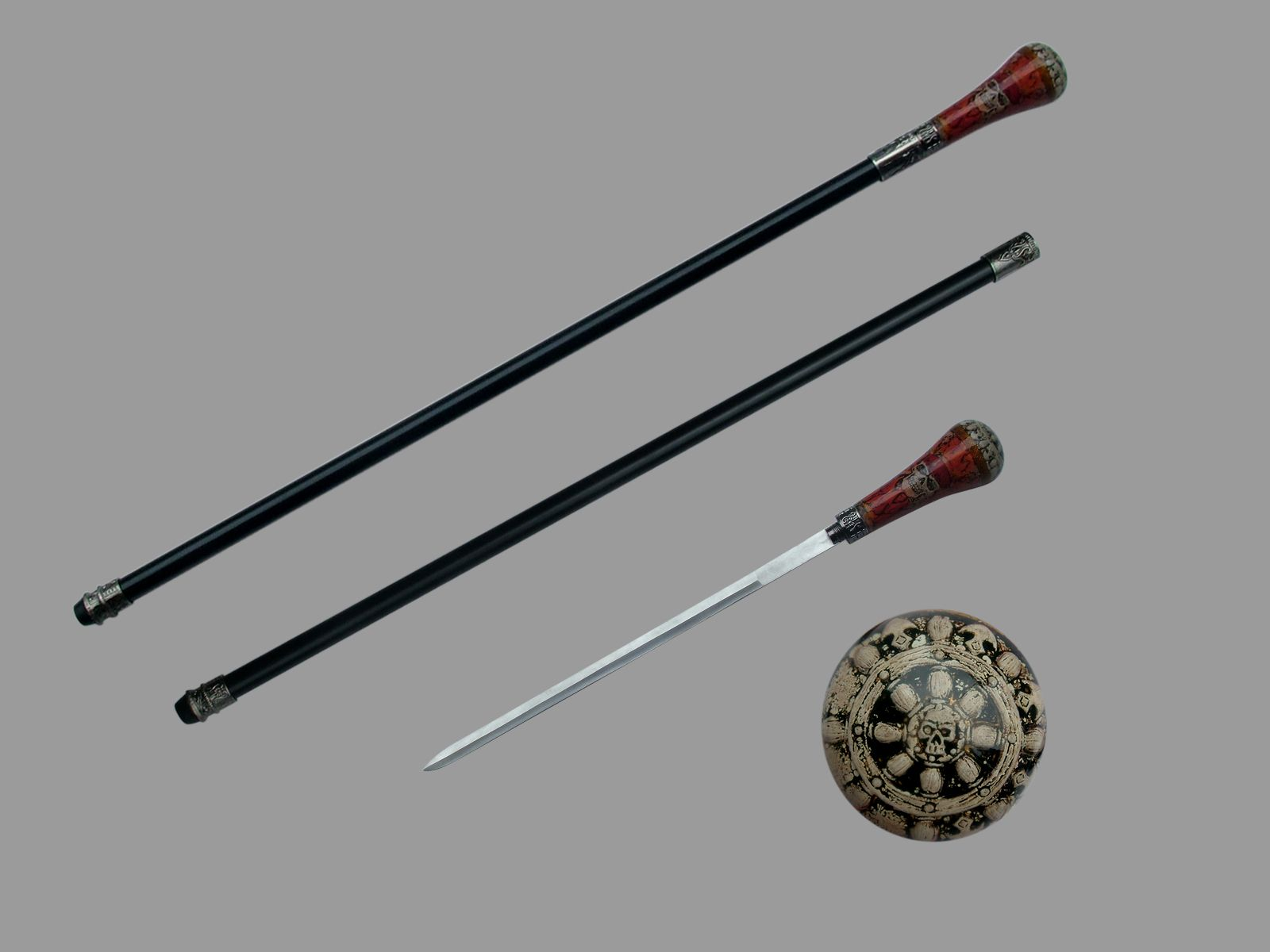 Caribbean Gray Pirates Flame  Sword Cane