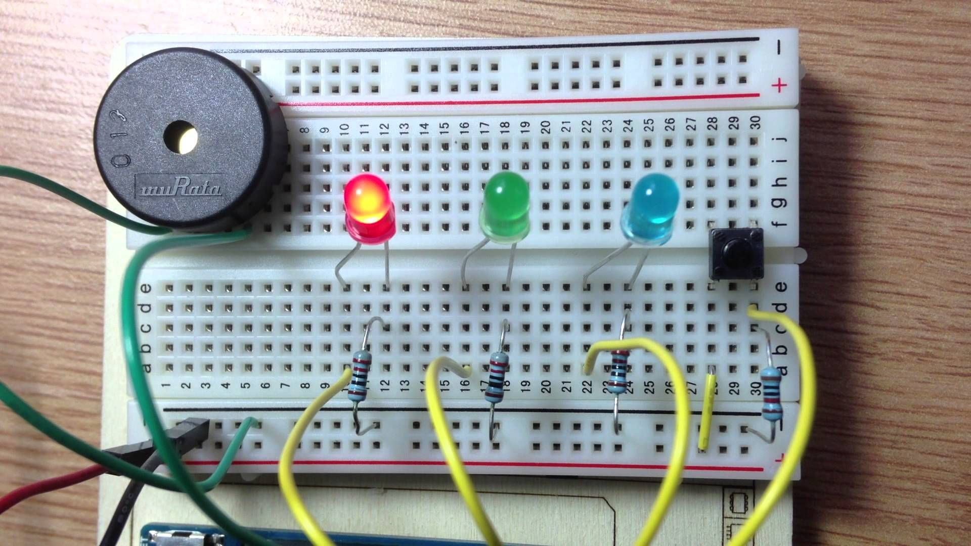 LED, piezo speaker, and music  code is in the link  it plays