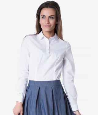 Camasa dama office alba fara nasturi cu maneca lunga