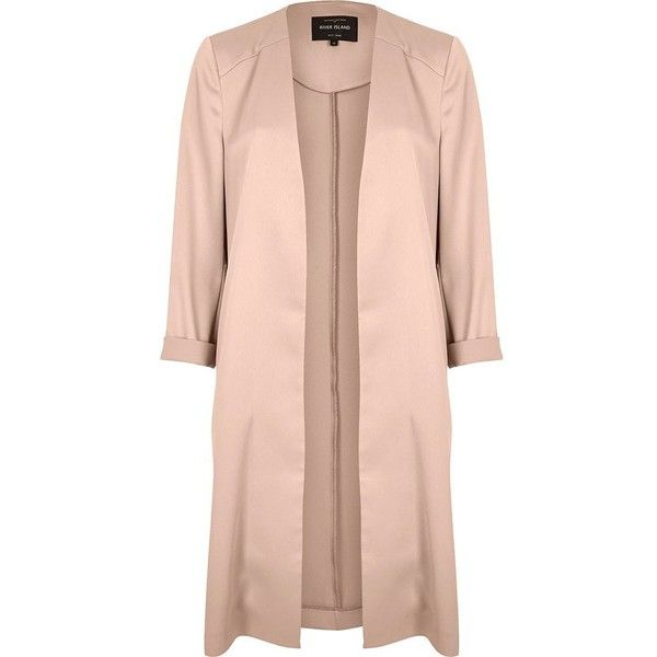 River Island Blush pink satin duster jacket ($73) ❤ liked on ...