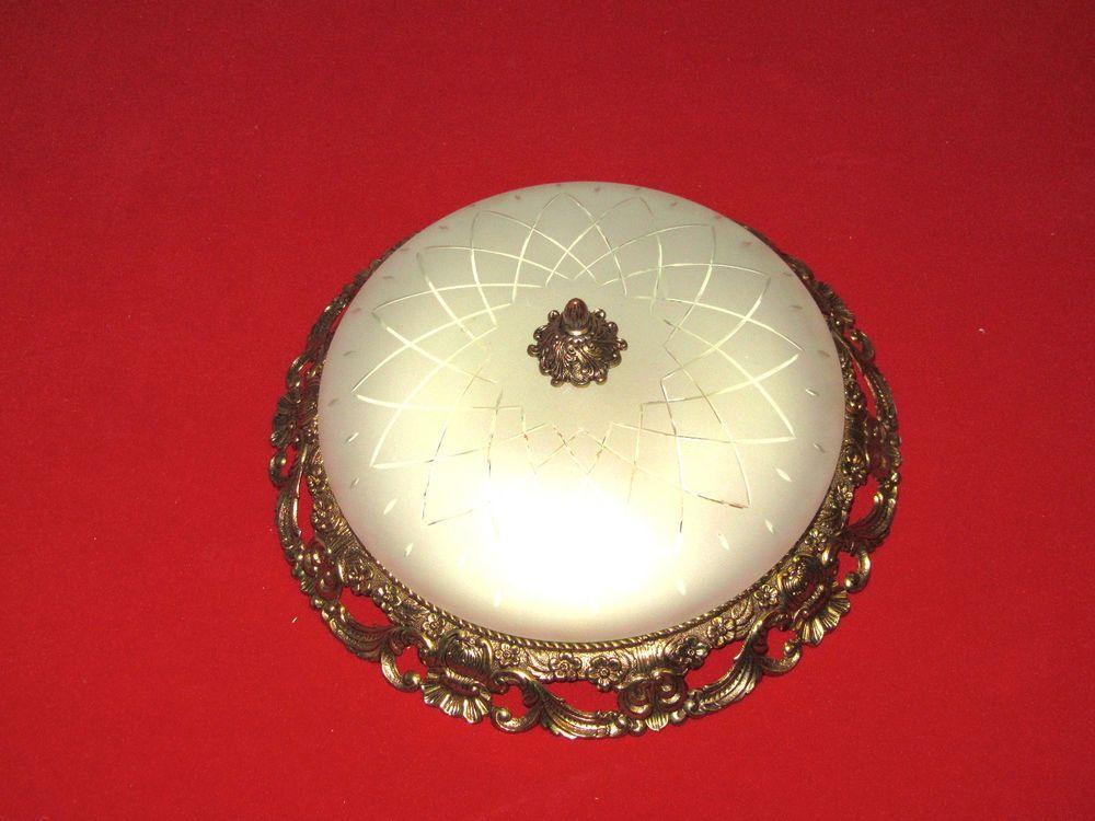 Plafoniere Kristall Antik : Schöne prunkvole plafonnier antik messing glas deckenlampe