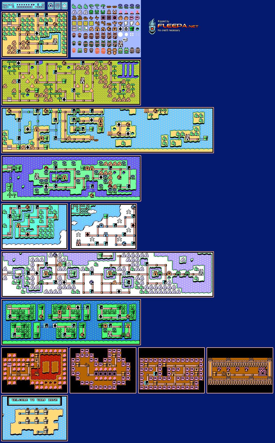 super mario bros 3 maps