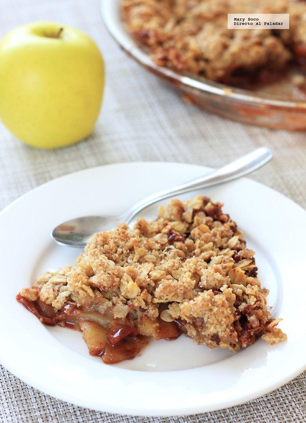 Receta de crumble de manzana. Con fotografías paso a paso, consejos y sugerencias de degustación. Recetas de postres...