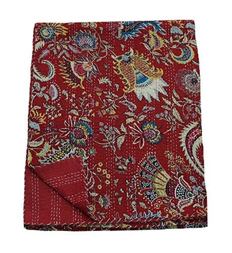 Crown Print Hand Quilted Coverlet Cotton Kantha Qu