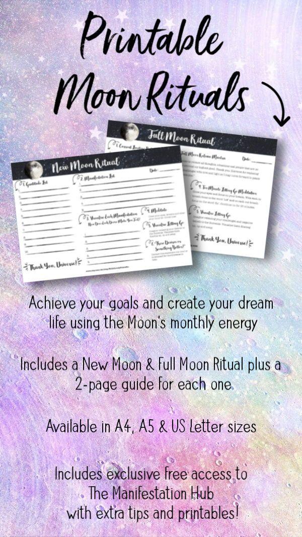 Printable New Moon & Full Moon Rituals • Moon Manifesting • Law of Attraction Planner • Moon Magic • Lunar Cycle #newmoonritual