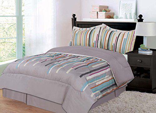 Panda Home Fashions Microfiber 4-Piece Comforter Set, Vertical Drop, Full