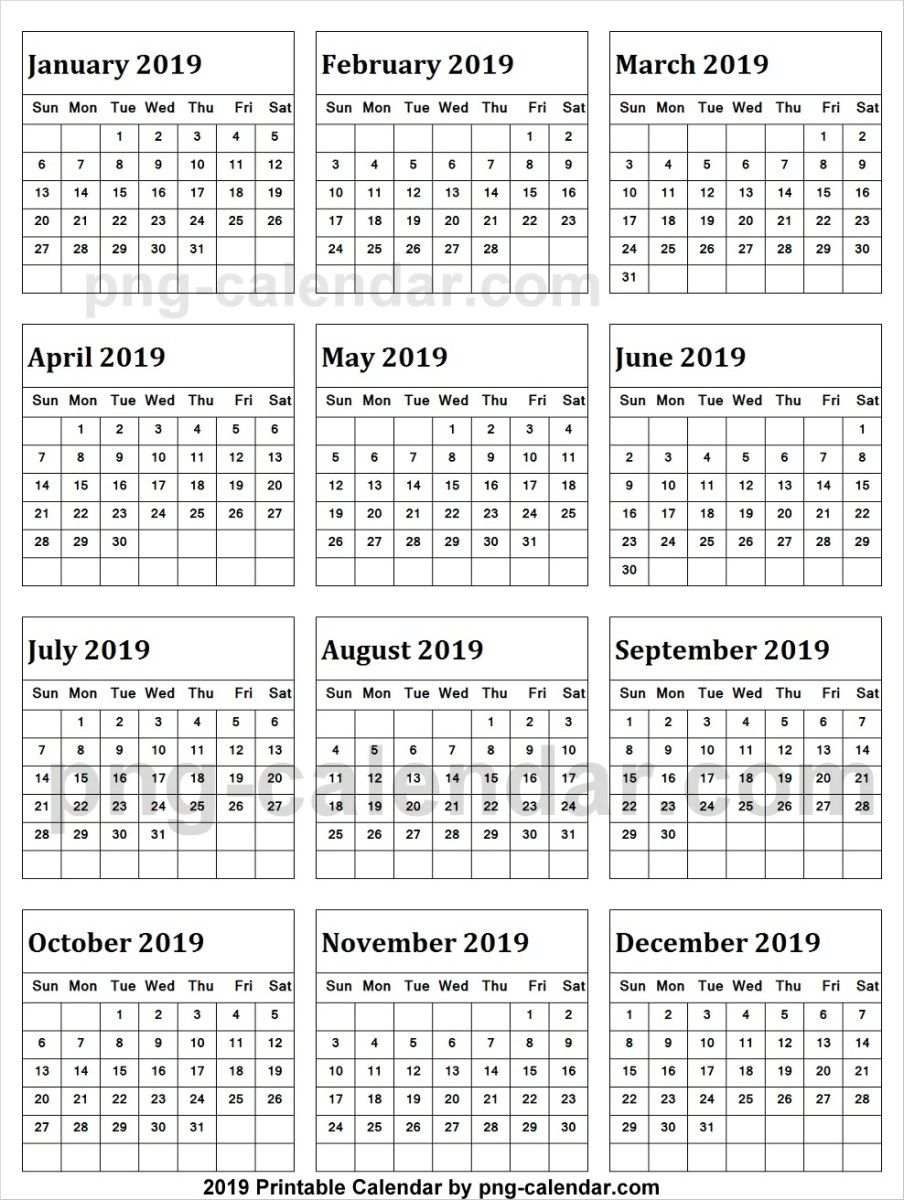 Calendar 2019 In Excel | 2019 Yearly Calendar | New year calendar