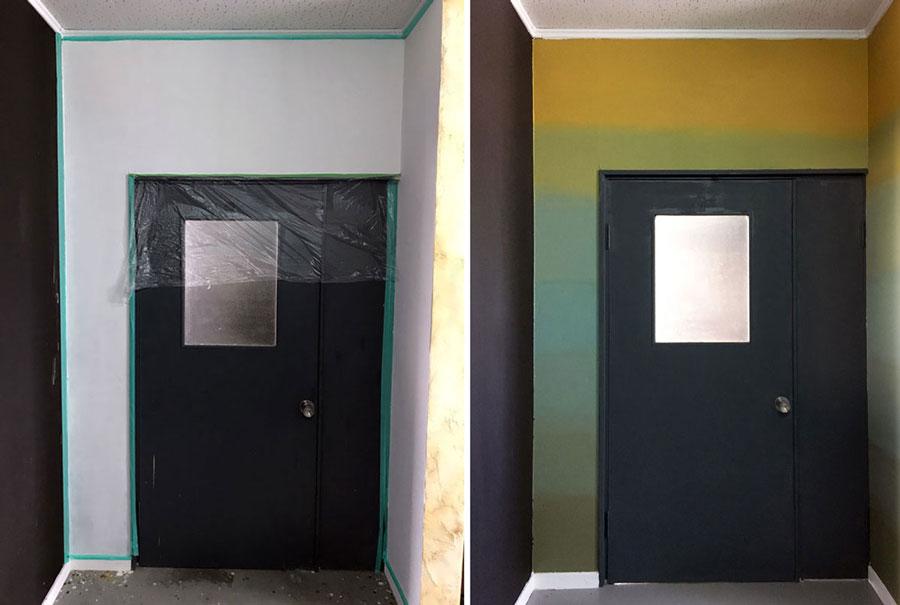 ドアをグラデーションに塗装した事例 塗り方 塗装diy事例から塗料を