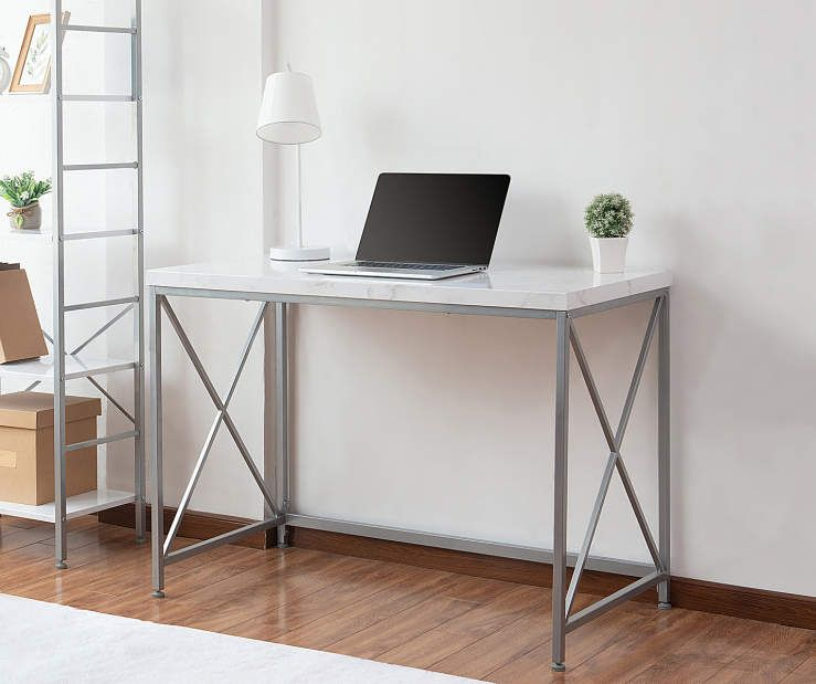 Just Home White Faux Marble Silver Desk Big Lots Silver Desk Marble Desk Home
