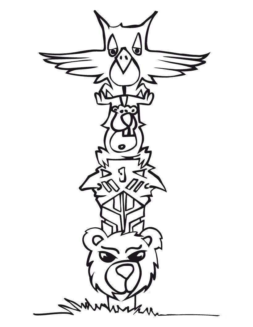 free printable totem pole coloring pages - Totem Pole Animals Coloring Pages