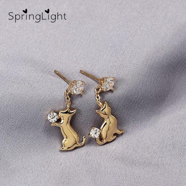 SpringLight Cute Cat Earring Bright Zircon Real 925