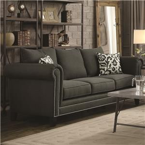 emerson transitional rolled arm sofa with pewter nailheads model rh pinterest com