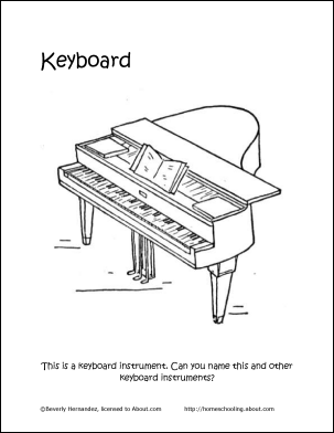 Keyboard Instruments Coloring Page