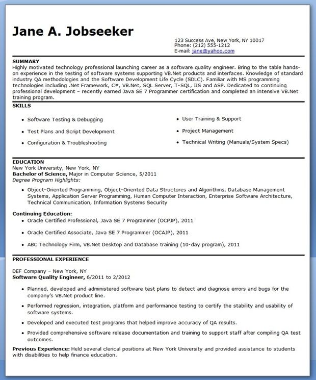 software engineer resumes Creative Resume Design Templates Word - software testing resume