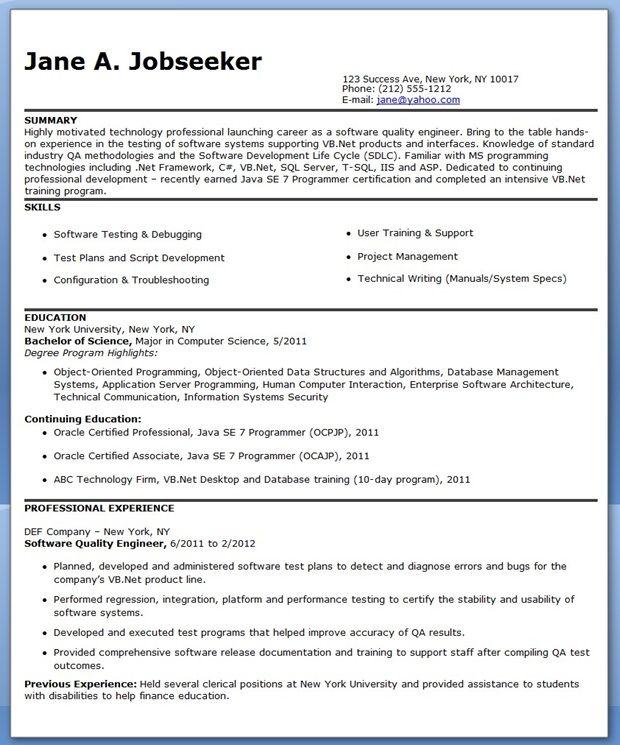 Resume Format Quality Engineer Engineer Format Quality Resume Resumeformat Engineering Resume Sample Resume Engineering Resume Templates