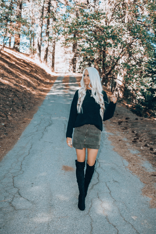 d50e7af8cf Black Velvet Sweater And Olive Green Skirt