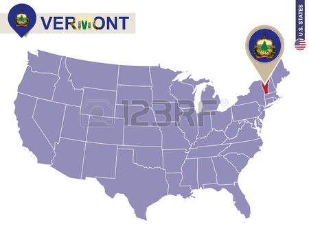 Estado de Vermont en EEUU mapa bandera de Vermont y mapa Estados