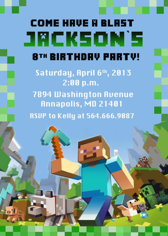 Minecraft Birthday Party Invitation Printable 899 via Etsy