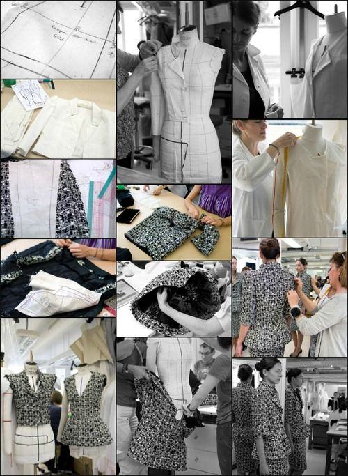 The process of making look #5 for Chanel haute couture f/w 2011