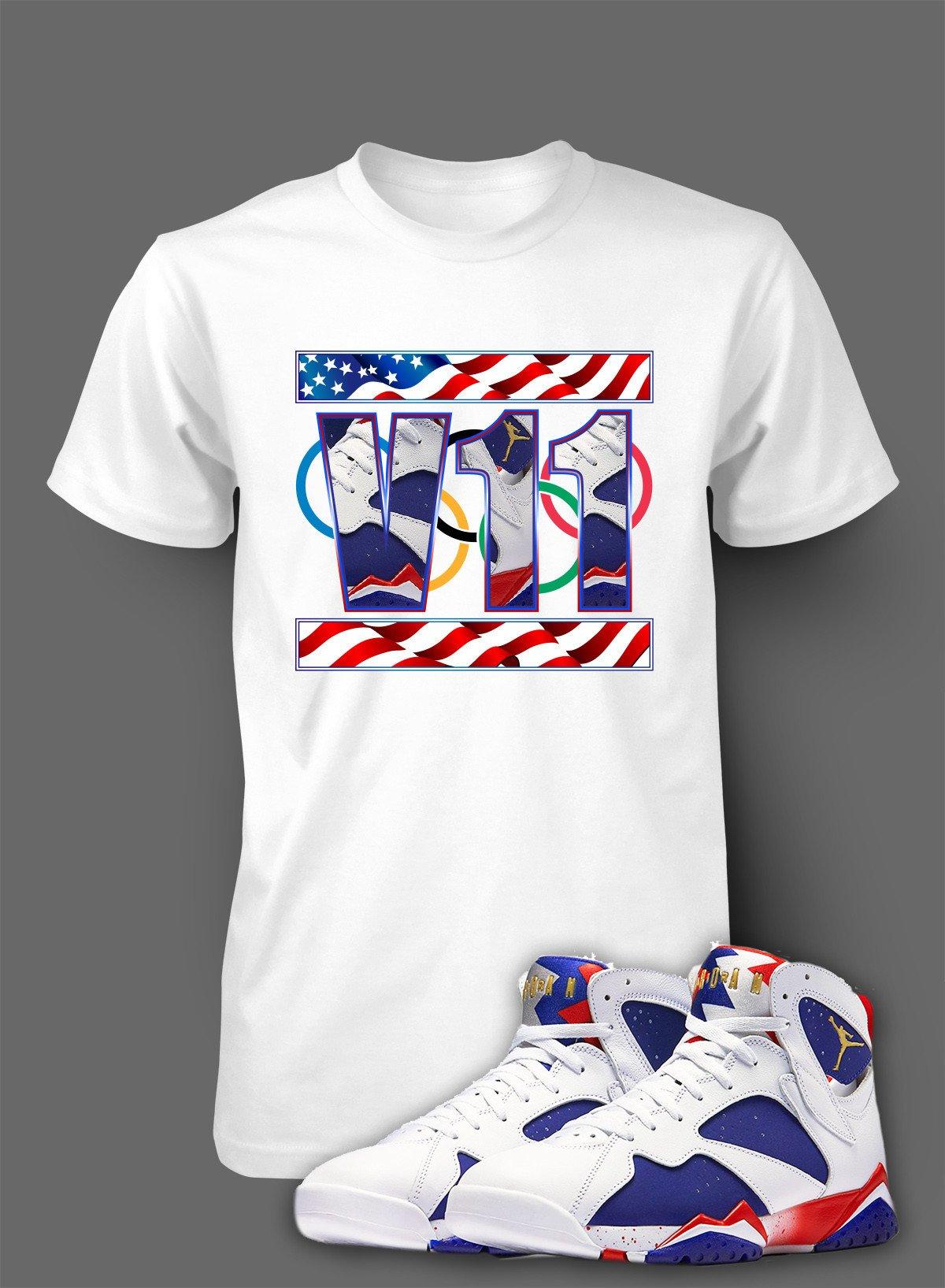 4405e973806 T Shirt To Match Retro Air Jordan 7 Olympic Shoe Custom Mens Tee Design  Sizing S M L XL XL-Tall 2XL 2XL-Tall 3XL 3XL-Tall LENGTH 28