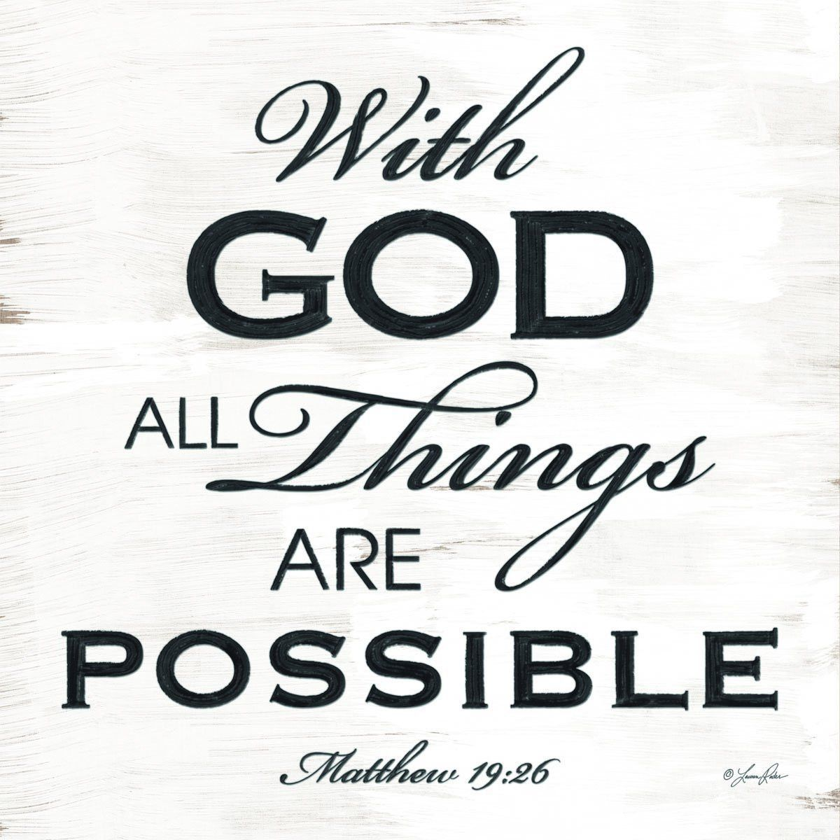 Matthew 1926 With God All Things Are Possible Christian Plaque