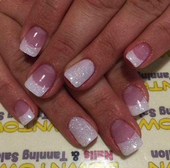 Glitter French Tips Easy Wedding Nail Art Ideas For Short Nails