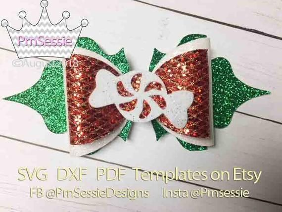 Christmas Hair Bow Template.Digital Svg Dxf Pdf Sugared Hair Bow Template Products