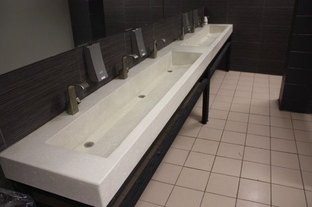 Extended box trough commercial washrooms concrete sink - Commercial trough sinks for bathrooms ...