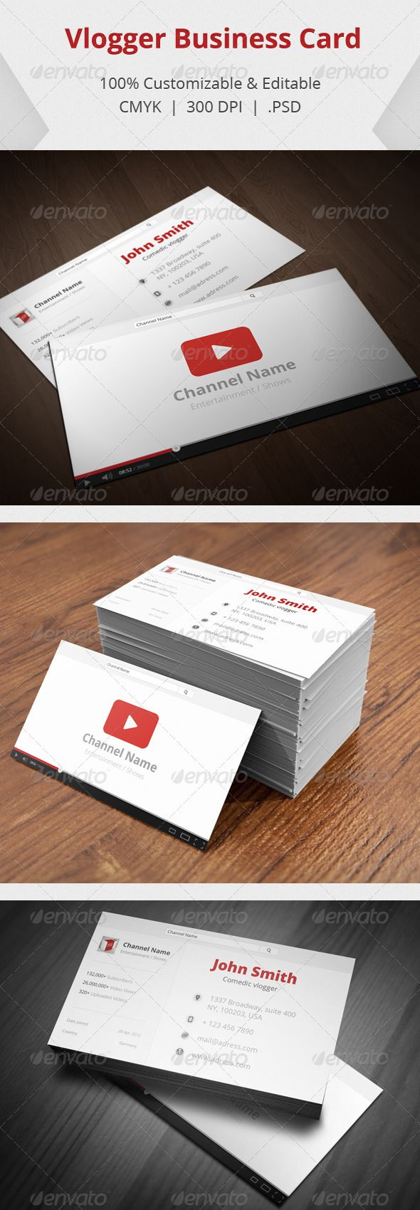 Vlogger business card pinterest business cards business and fonts vlogger business card for sale on graphic river httpgraphicriveritemvlogger business card3708891 reheart Image collections
