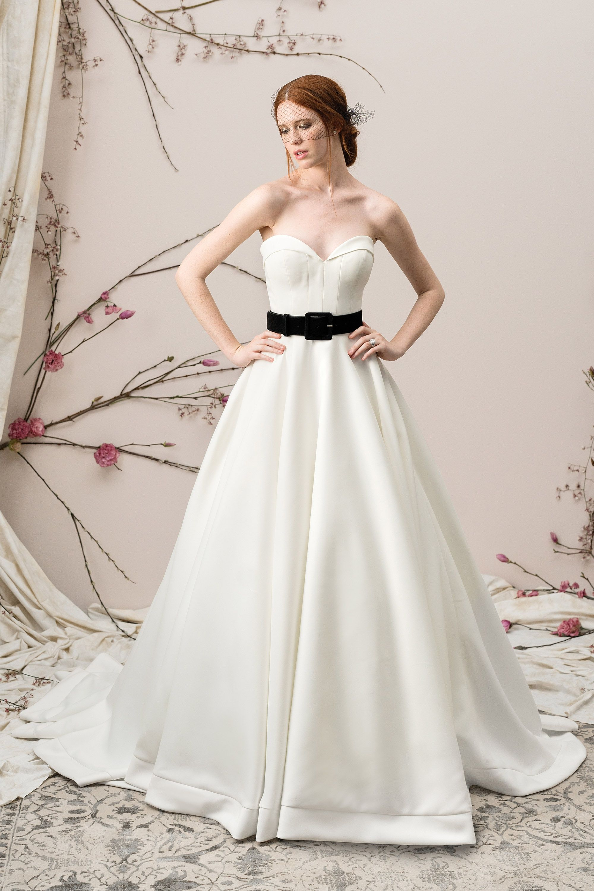 Justin Alexander Signature 9904 Ivory Black Size 12 Satin Ball Gown with  Folded Collar Sweetheart Neckline 6a0c4814f31e