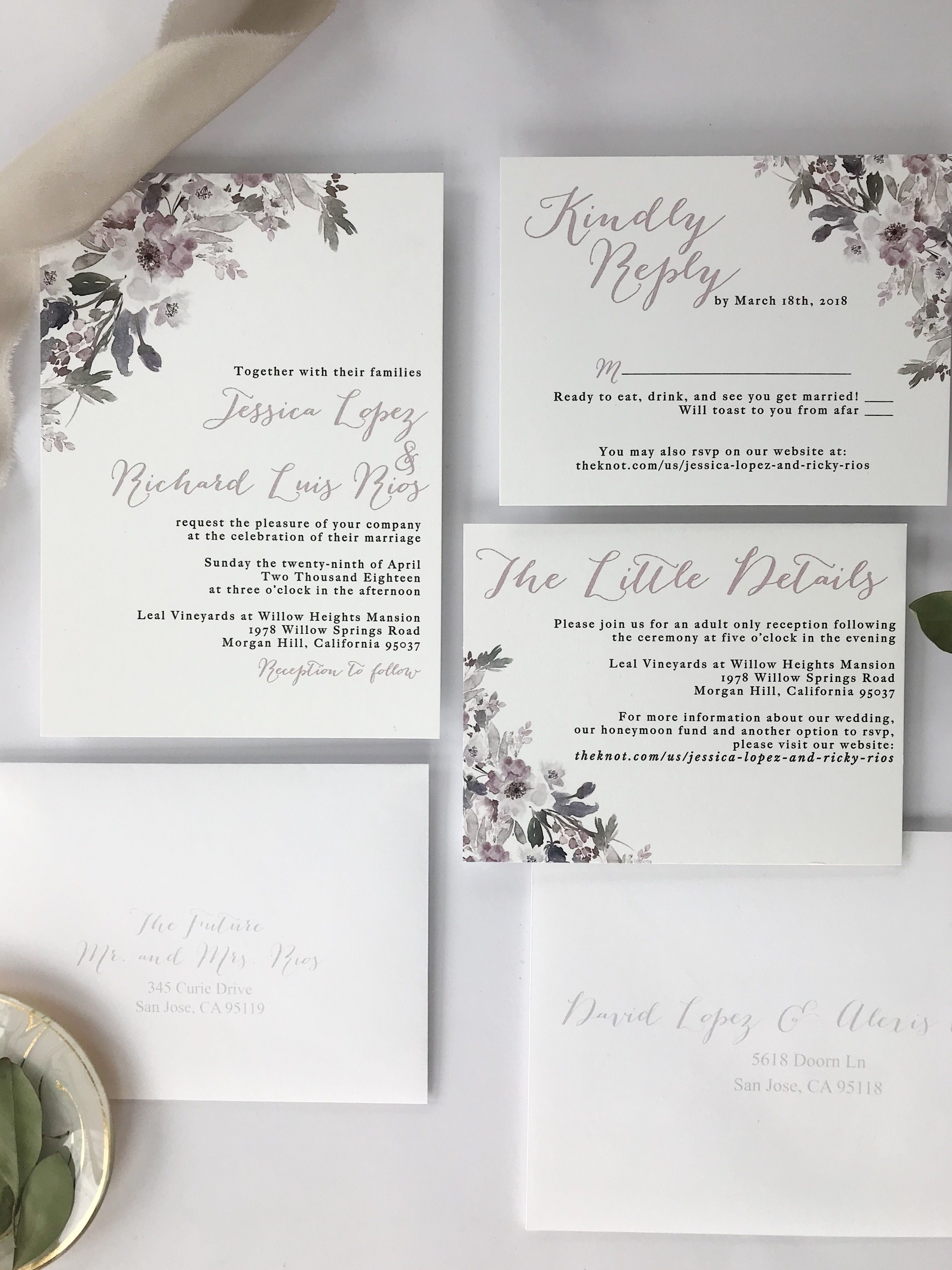Invitation Reveal Lilac Grey White Floral Invitations