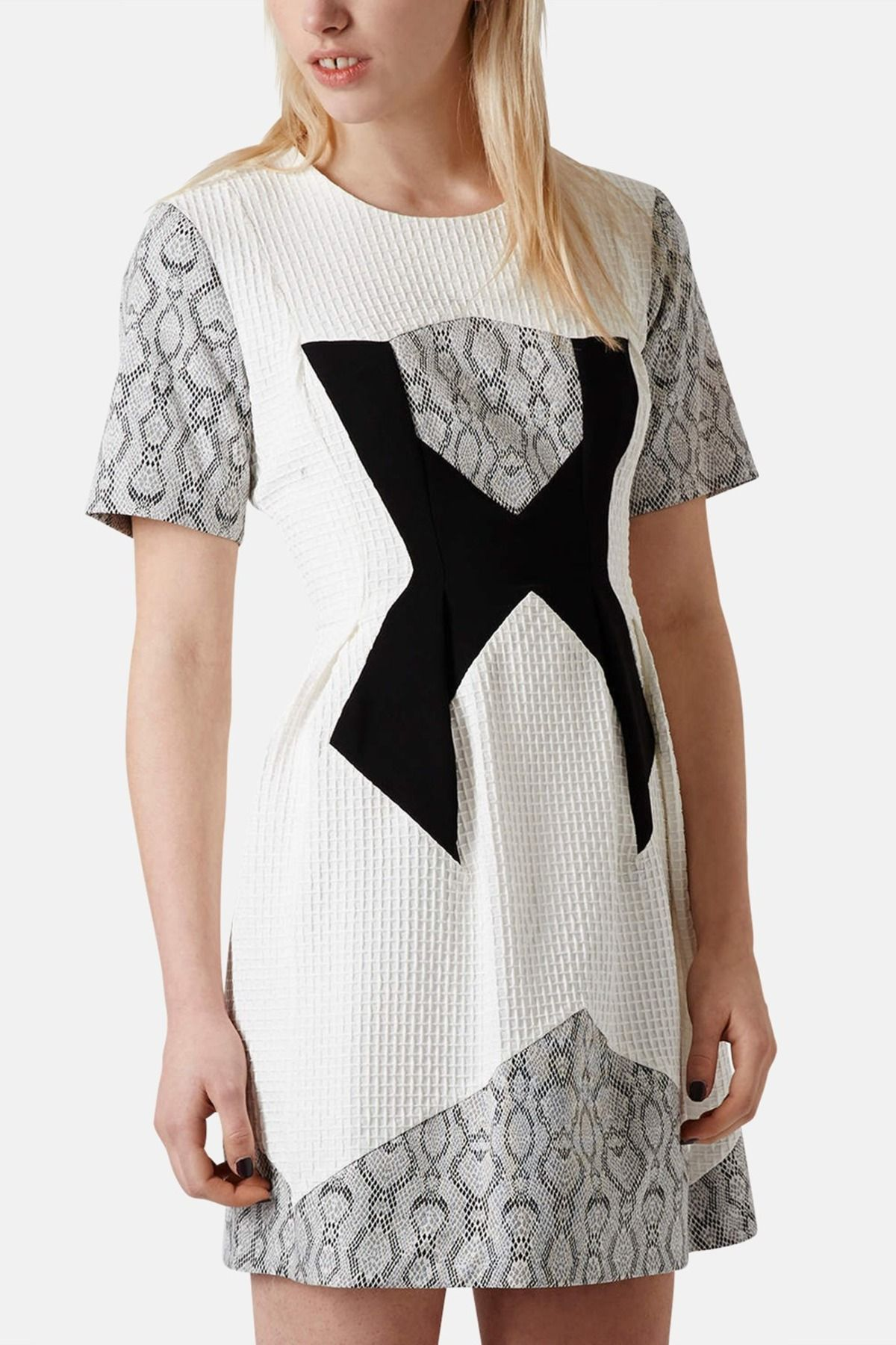 TOPSHOP Topshop Mixed Media Fit & Flare Dress by TOPSHOP on @nordstrom_rack