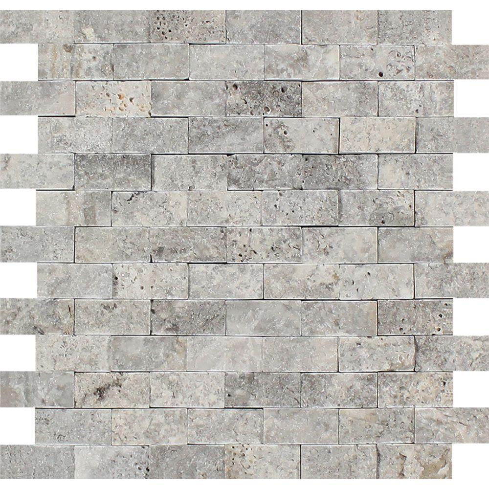 1 x 2 Splitfaced Silver Travertine Brick Mosaic Tile