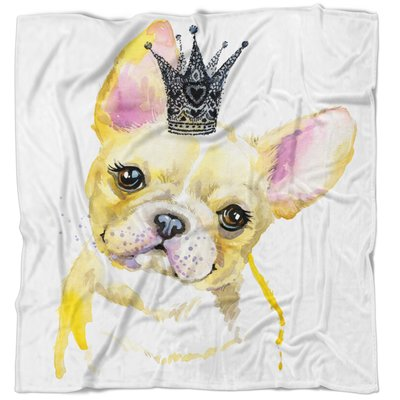 East Urban Home Animal French Bulldog With Crown Blanket Size 59 W X 71 L Animal Throws Warm Throw Blanket Country Blankets