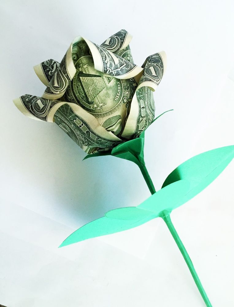 Dollar Bill Origami Heart with Flower | FaVe Mom | 1000x763