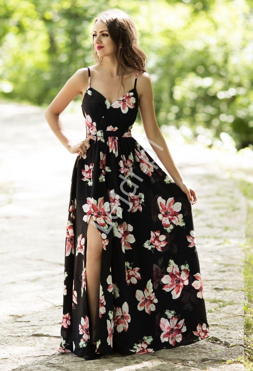 Czarna Suknia W Duze Kwiaty Z Rozcieciem Ukazujacym Noge 1315 Fashion Dresses Dresses Fashion