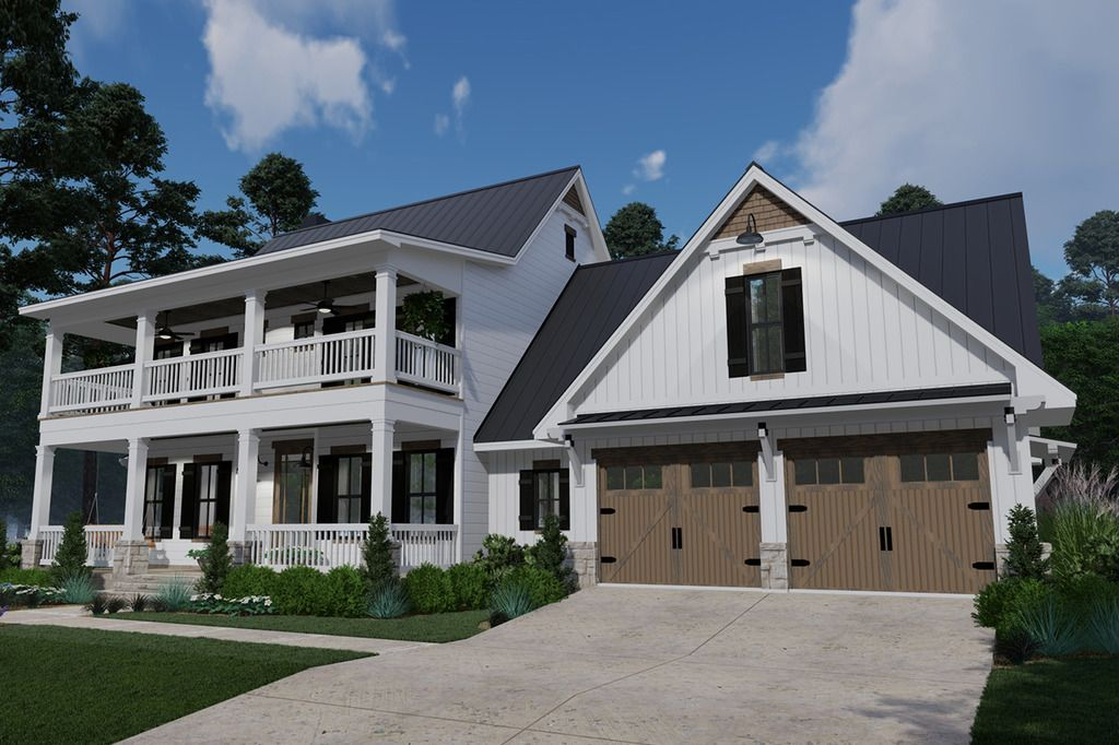 Southern Style House Plan 3 Beds 2 5 Baths 2458 Sq Ft Plan 120 260 Farmhouse Style House Plans Stacked Porches House Plans Farmhouse