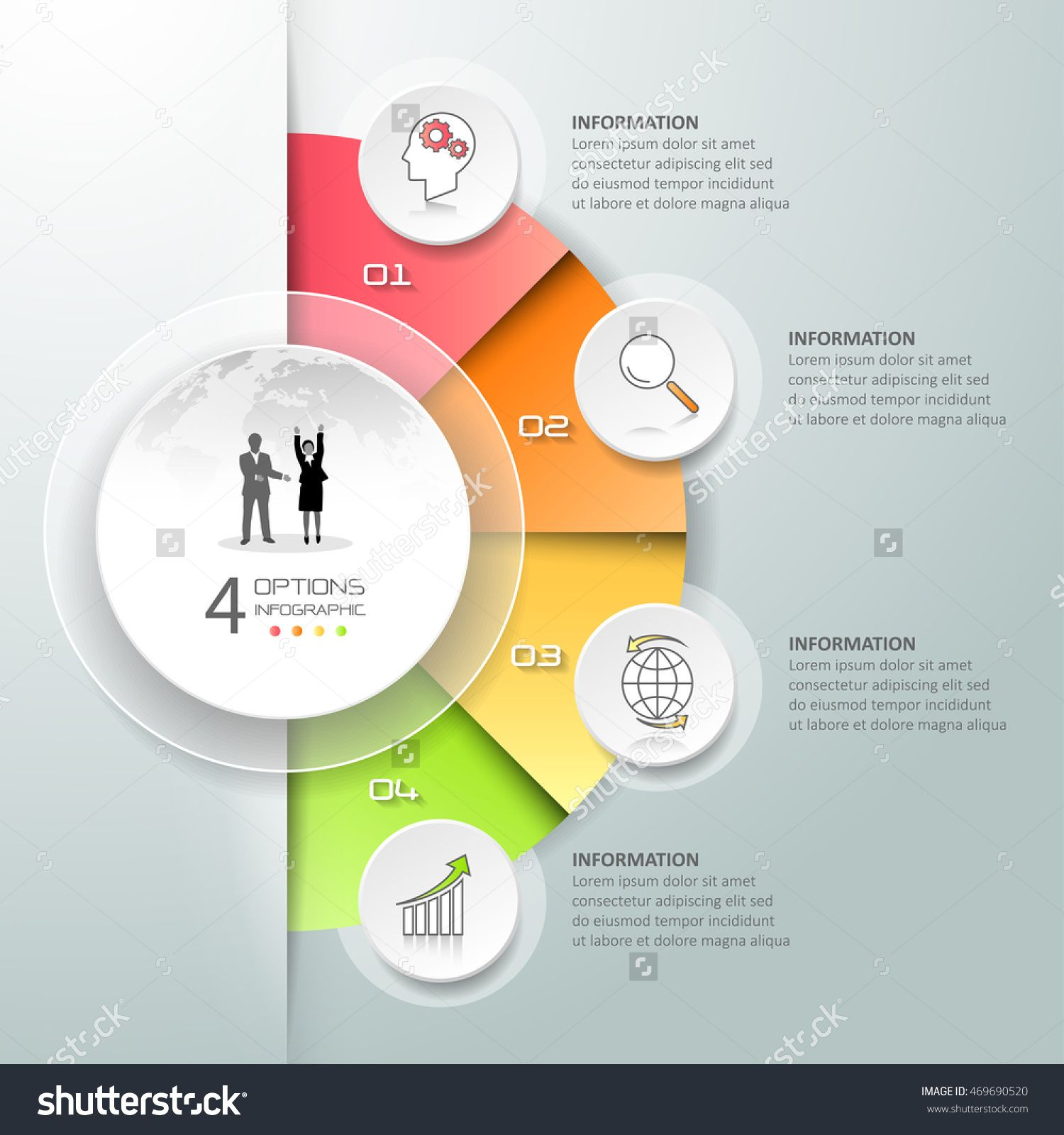 design circle infographic 4 options business concept infographic template can be used for. Black Bedroom Furniture Sets. Home Design Ideas