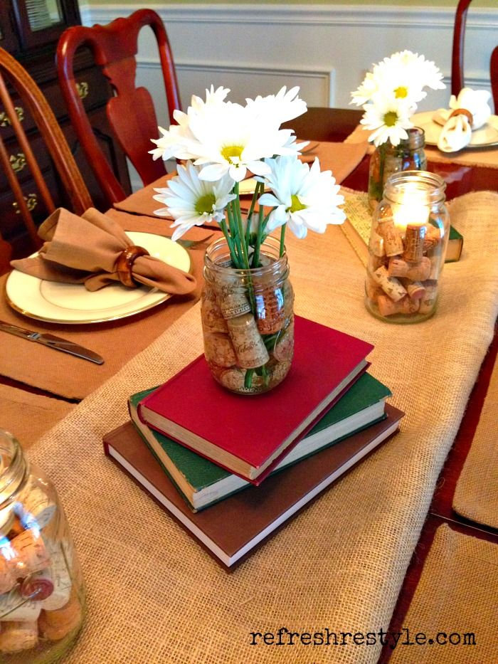 Tablescapes on pinterest table settings table runners for Decoration books