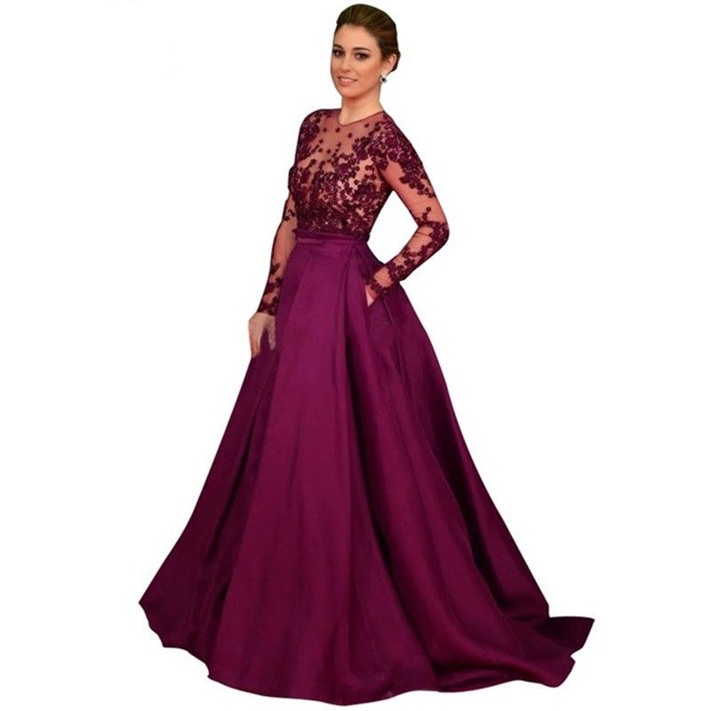 f5393d7fa235 Vestidos Elegantes Long Sleeve Muslim Evening Dress 2016 Cheap A Line  Purple Evening Dresses Made in China