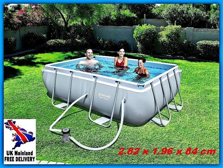 Small Swimming Pool Set Above Ground Steel Rectangular Frame Pump Outdoor Garden Small Swimming Pools Small Inground Pool Swimming Pools