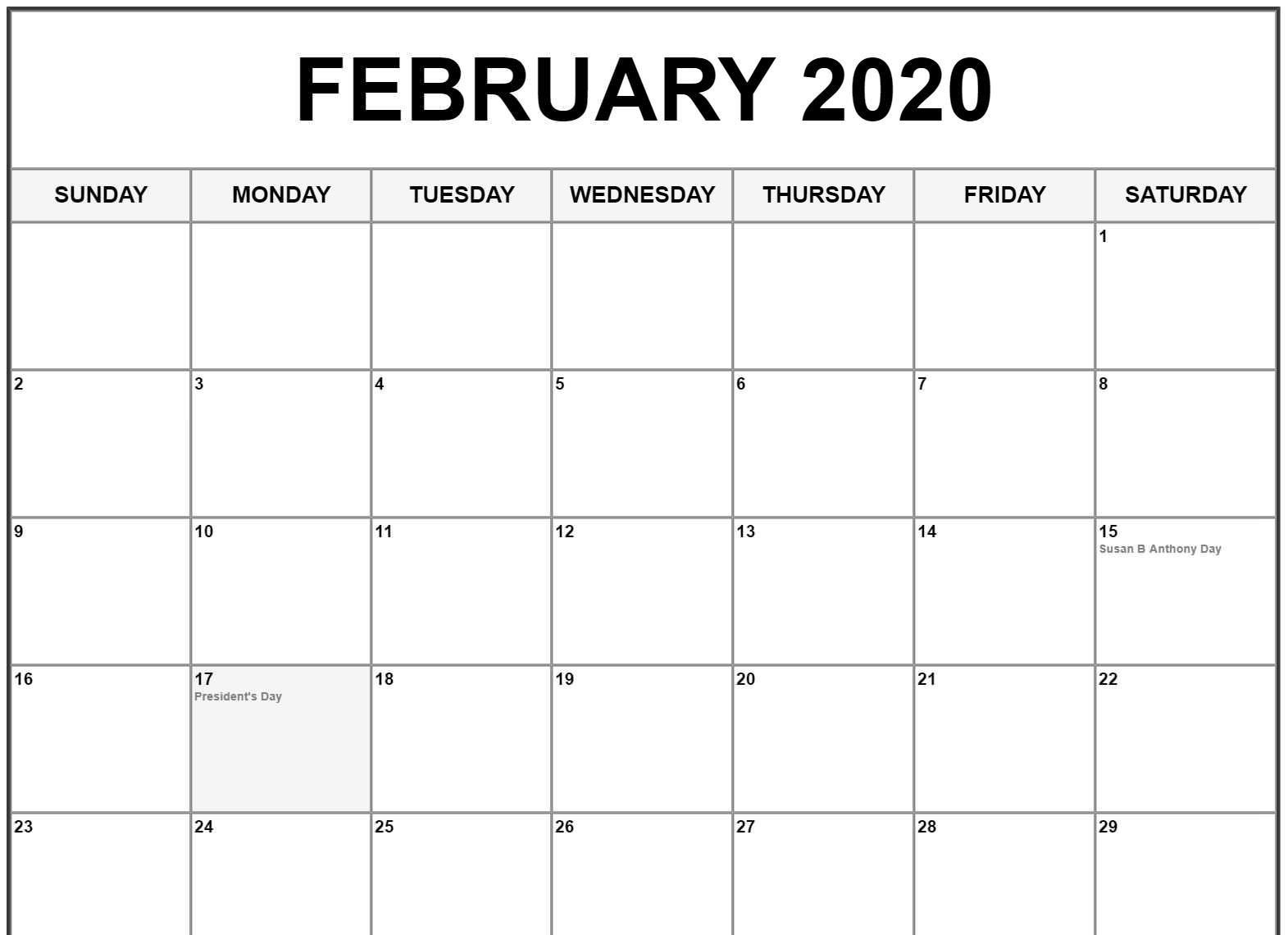 Free Printable Christmas Calendar 2020 February 2020 Calendar US Holidays | February calendar, 2020