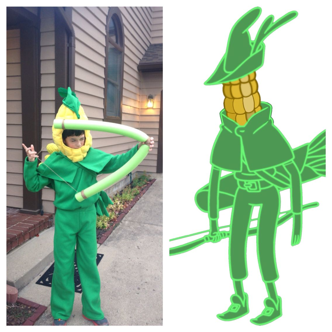 my son u0026 39 s archer dan costume  from adventure time card wars   a side by side comparison